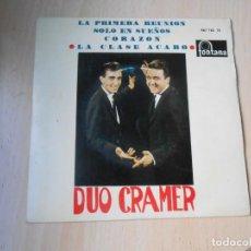 Discos de vinilo: DUO CRAMER, EP, LA PRIMERA REUNIÓN + 3, AÑO 1963. Lote 288210148