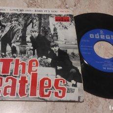Discos de vinilo: THE BEATLES BOYS/CHAINS/LOVE ME DO/BABY IT'S YOU EP 1964- ODEON DSOE 16574 ESPAÑA LABEL AZUL OSCURO. Lote 288213868