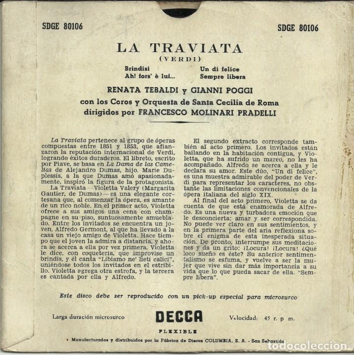 Discos de vinilo: LA TRAVIATA - VERDI - RENATA TEBALDI Y GIANNI POGGI - DECCA - 1958 - Foto 4 - 288229128