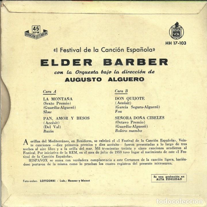 Discos de vinilo: I FESTIVAL DE· LA CANCIÓN ESPAÑOLA - ELDER BARBER - BENIDORM 1959 - Foto 4 - 288229693