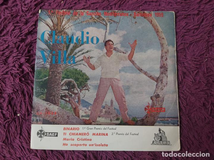 """CLAUDIO VILLA – BINARIO,VINYL, 7"""" EP 1959 SPAIN CP-1033 (Música - Discos de Vinilo - EPs - Pop - Rock Internacional de los 50 y 60)"""