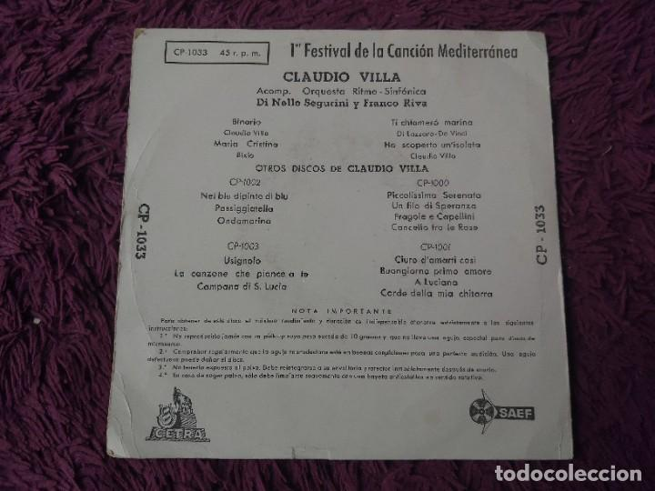 """Discos de vinilo: Claudio Villa – Binario,Vinyl, 7"""" EP 1959 Spain CP-1033 - Foto 2 - 288321588"""