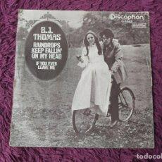 "Discos de vinilo: B.J. THOMAS – RAINDROPS KEEP FALLIN' ON MY HEAD, VINYL, 7"" SINGLE 1970 SPAIN S-5087. Lote 288328758"