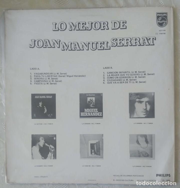 Discos de vinilo: JOAN MANUEL SERRAT (LO MEJOR DE JOAN MANUEL SERRAT) LP 1980 Edición Colombiana - Foto 2 - 288335953