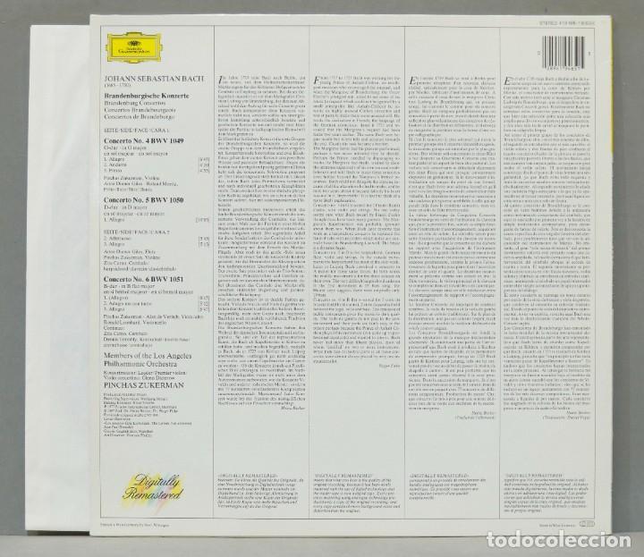 Discos de vinilo: LP. Brandenburg Concertos Nos. 4. 5. 6. BACH. ZUKERMAN - Foto 2 - 288346248