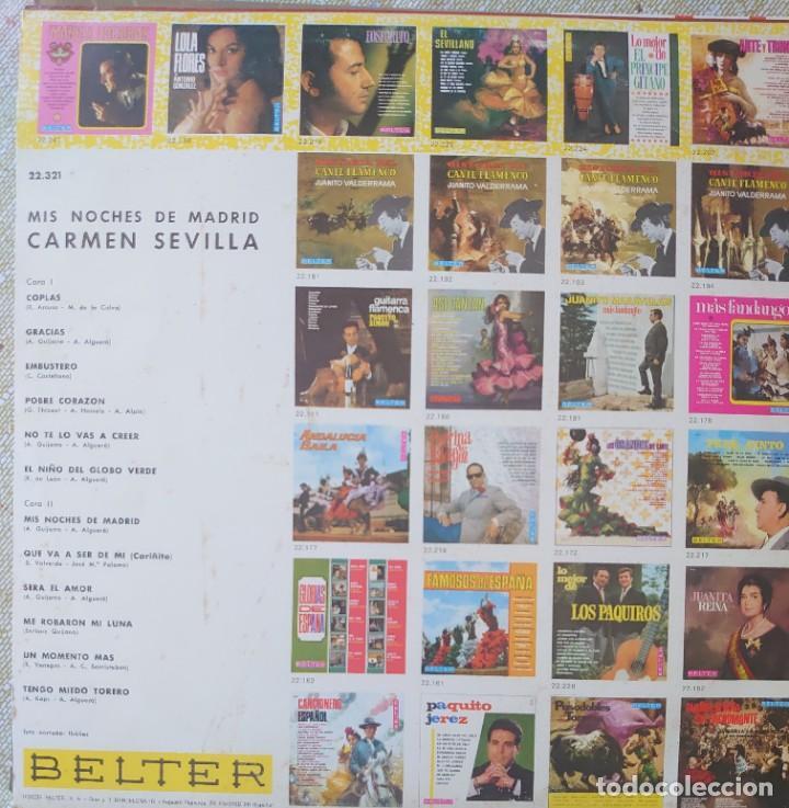 Discos de vinilo: Carmen Sevilla Lp sello Belter editado en España año 1969 - Foto 2 - 288353318