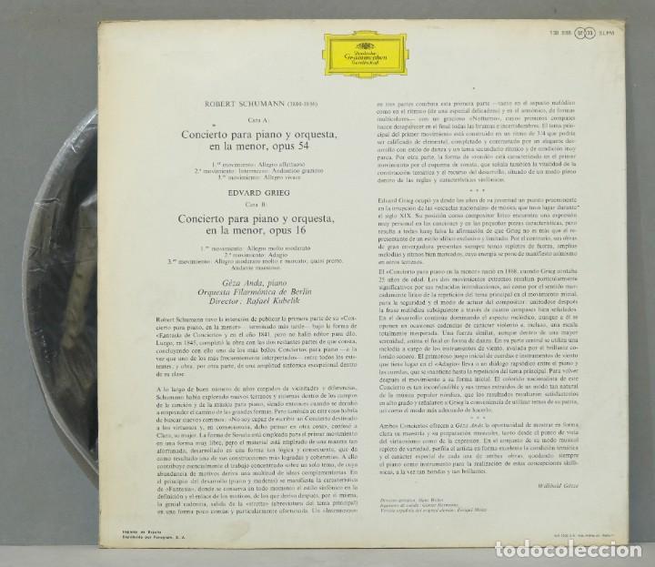 Discos de vinilo: LP. Schumann. Edvard Grieg. Conciertos para Piano y Orquesta. KUBELIK - Foto 2 - 288357873