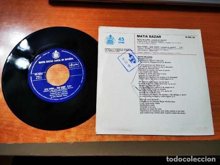 Discos de vinilo: MATIA BAZAR Rayo de luna CANTADO EN ESPAÑOL EUROVISION ITALIA 1979 SINGLE VINILO 1979 ESPAÑA 2 TEMAS - Foto 2 - 288359478