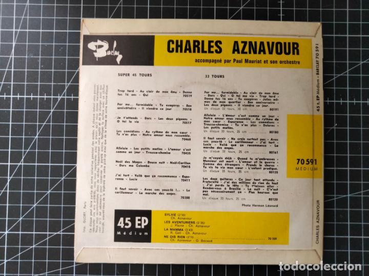 Discos de vinilo: Charles Aznavour. Super 45 con 4 Canciones. Autógrafo en la Portada. Barclay - Foto 2 - 288369688