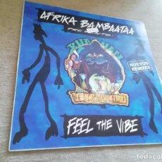 Discos de vinilo: AFRIKA BAMBAATAA PRESENTS KHAYAN-FEEL THE VIBE. NUEVOS REMIXES. MAXI ESPAÑA. Lote 288375223