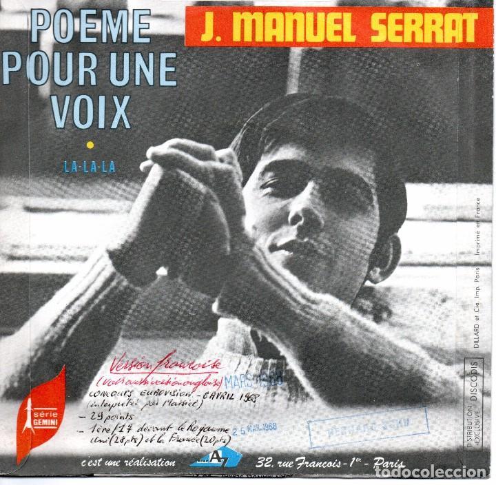 Discos de vinilo: Single editado en Francia Joan Manuel Serrat La , La , La version de eurovision - Foto 2 - 288395608