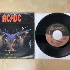 "Discos de vinilo: AC/DC - LET'S GET IT UP / BACK IN BLACK - SINGLE 7"" - SPAIN 1981. Lote 288405283"