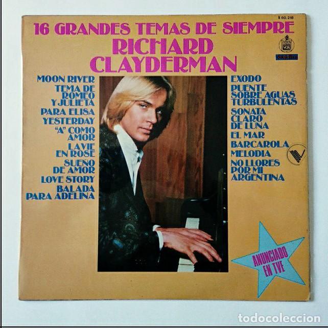 16 GRANDES TEMAS DE SIEMPRE RICHARD CLAYDERMAN - HISPAVOX 1979 (Música - Discos - LP Vinilo - Orquestas)