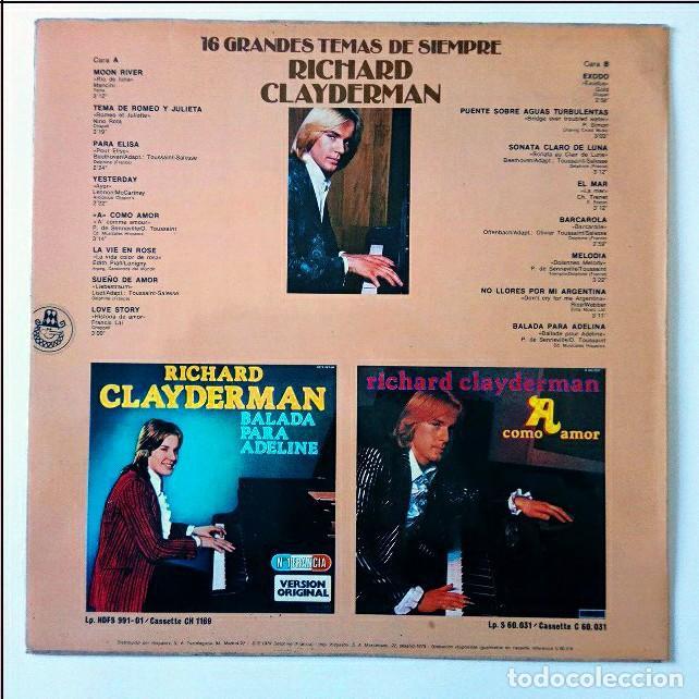 Discos de vinilo: 16 GRANDES TEMAS DE SIEMPRE RICHARD CLAYDERMAN - HISPAVOX 1979 - Foto 2 - 288398948