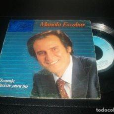 Discos de vinilo: MANOLO ESCOBAR - CORAJE - SINGLE DE 1985 - EDITA BELTER - + NACISTE PARA MI.. Lote 288453283