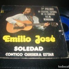 Discos de vinilo: EMILIO JOSÉ – SOLEDAD + CONTIGO QUISIERA ESTAR - SINGLE - FESTIVAL DE BENIDORM 1973 -1ª POSICION. Lote 288454448