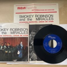 """Disques de vinyle: SMOKEY ROBINSON AND THE MIRACLES - SPECIAL OCCASION - SINGLE 7"""" SPAIN 1968 - PROMO INCLUYE FOLLETO. Lote 288463408"""