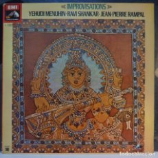 Discos de vinilo: YEHUDI MENUHIN /RAVI SHANKAR / JEAN-PIERRE RAMPAL// IMPROVISATIONS //1978 //(VG VG). LP. Lote 288467073