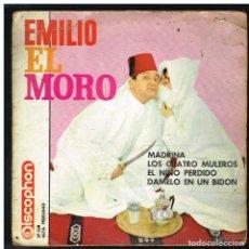 Discos de vinilo: EMILIO EL MORO - MADRINA / LOS CUATRO MULEROS / EL NIÑO PERDIDO / DAMELO EN UN BIDON - EP 1963. Lote 288474348