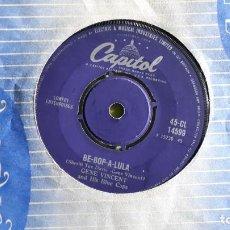 Discos de vinilo: GENE VINCENT - BE BOP A LULA + WOMAN LOVE - 1956 - COMPRA MÍNIMA 3 EUROS. Lote 288475123