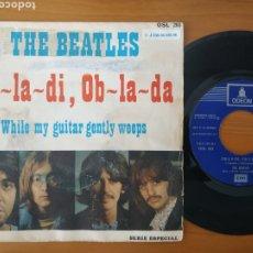 Discos de vinilo: BEATLES SG OBLADI OBLADA REED.ESPAÑOLA REFERENCIA 1J EN STICKER. Lote 288490208