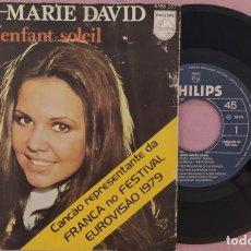 """Discos de vinilo: 7"""" ANNE-MARIE DAVID - JE SUIS L'ENFANT-SOLEIL - PORTUGAL - EUROVISION (VG+/EX). Lote 288507223"""
