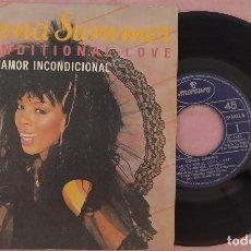 "Discos de vinilo: 7"" DONNA SUMMER - UNCONDITIONAL LOVE = AMOR INCONDICIONAL - SPAIN PRESS (EX-/EX-). Lote 288517043"