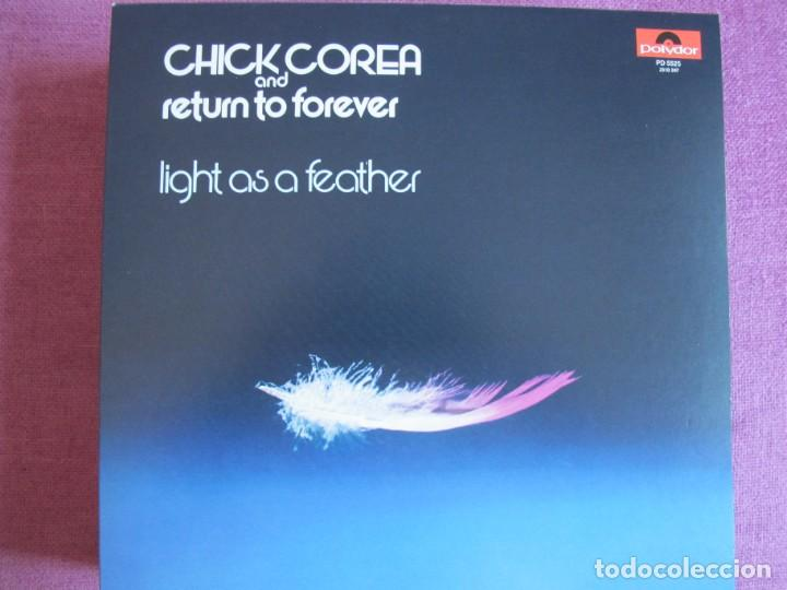 LP - CHICK COREA AND RETURN TO FOREVER - LIGHT AS A FEATHER (SPAIN, POLYDOR 2010, CONTIENE FASCICULO (Música - Discos - LP Vinilo - Jazz, Jazz-Rock, Blues y R&B)