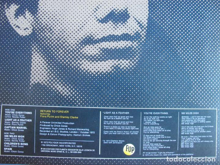 Discos de vinilo: LP - CHICK COREA AND RETURN TO FOREVER - LIGHT AS A FEATHER (SPAIN, POLYDOR 2010, CONTIENE FASCICULO - Foto 2 - 288530343