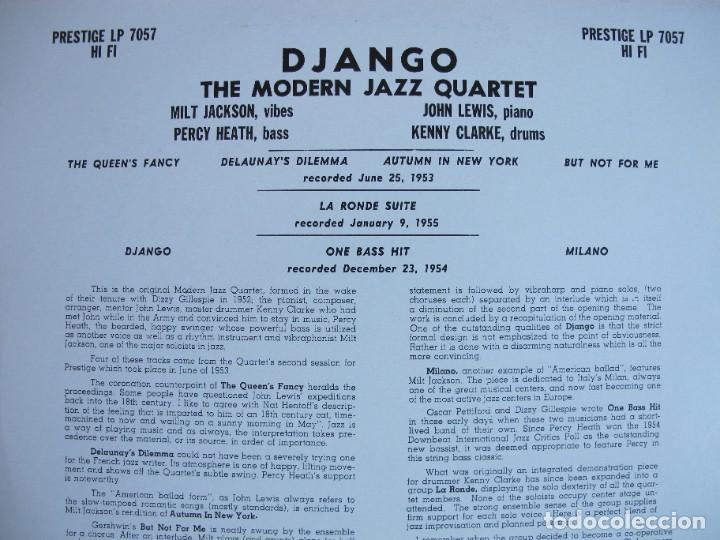 Discos de vinilo: LP - THE MODERN JAZZ QUARTET - DJANGO (SPAIN, PRESTIGE RECORDS 2010, CONTIENE FASCICULO) - Foto 2 - 288534748