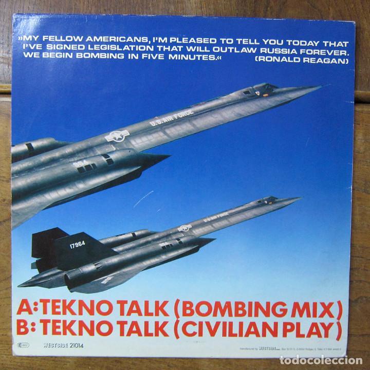 Discos de vinilo: MOSKWA TV - TEKNO TALK (BOMBING MIX) / TEKNO TALK (CIVILIAN PLAY) - 1985 - - Foto 2 - 288549663