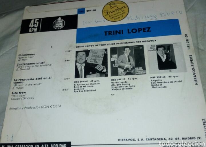 Discos de vinilo: SINGLE EP TRINI LÓPEZ EL LIMONERO EDICIÓN ESPAÑOLA AÑO 1965 - Foto 2 - 288558578