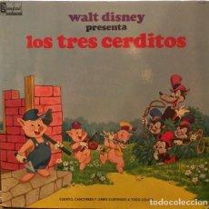 Discos de vinilo: WALT DISNEY PRESENTA LOS TRES CERDITOS / LP DISNEYLAND RECORDS 1969 (LIBRO DISCO). Lote 288560578