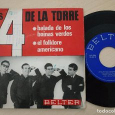 Discos de vinilo: LOS 4 DE LA TORRE - BALADA DE LOS BOINAS VERDES / EL FOLKLORE AMERICANO - SINGLE DE 1966. Lote 288576993