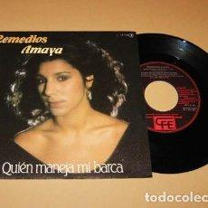 Discos de vinilo: REMEDIOS AMAYA - QUIEN MANEJA MI BARCA - SINGLE EUROVISION - 1983. Lote 288585168