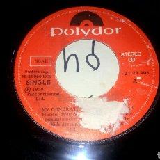 Discos de vinilo: THE WHO. MY GENERATION / KIDS ARE ALLRIGHT. SINGLE EDICIÓN ESPAÑOLA AÑO 1979. SÓLO DISCO SIN PORTADA. Lote 288599243