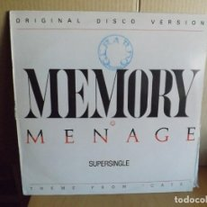 Discos de vinilo: MENAGE --- MEMORY - MAXI SINGLE. Lote 288643493