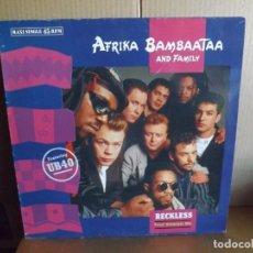 Discos de vinilo: AFRIKA BAMBAATAA AND FAMILY -- RECKLESS - MAXI SINGLE. Lote 288643878