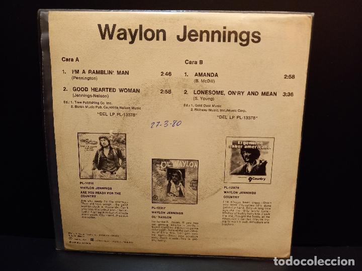 Discos de vinilo: WAYLON JENNINGS IM A RAMBLIN MAN + 3 EP SPAIN 1980 PDELUXE - Foto 2 - 288662773