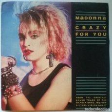 Discos de vinilo: MADONNA. CRAZY FOR YOU. EPIC-GEFFEN, SPAIN 1985 (S-SIDED PROMO) PROMOCIONAL. Lote 288738948