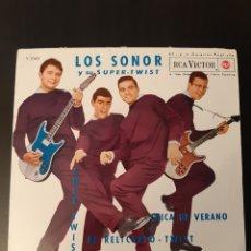 Discos de vinilo: LOS SONOR Y SU SUPER-TWIST. SOLE-TWIST, CHICA DE VERANO, EL RELICARIO, UN TIPO FELIZ. RCA. 1962. ESP. Lote 288859453