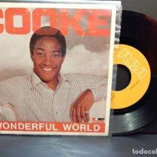 Discos de vinilo: SAM COOKE WONDERFUL WORLD SINGLE SPAIN 1986 PDELUXE. Lote 288886653