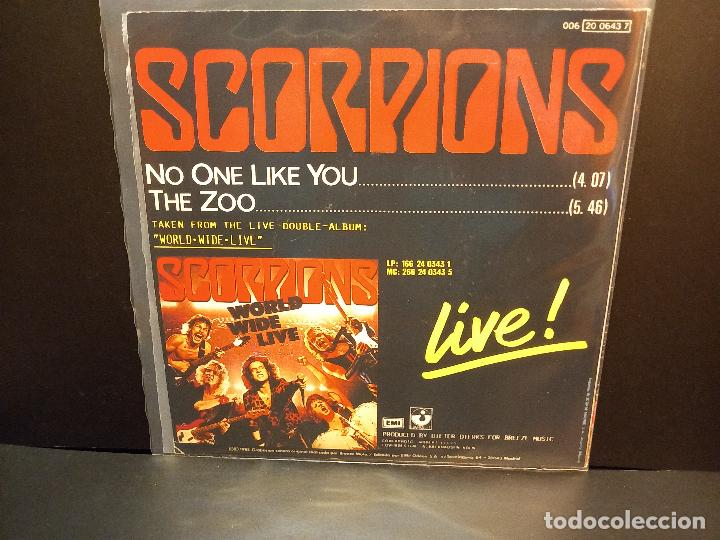 Discos de vinilo: SCORPIONS NO ONE LIKE YOU / THE ZOO SINGLE SPAIN 1985 PDELUXE - Foto 2 - 288890748