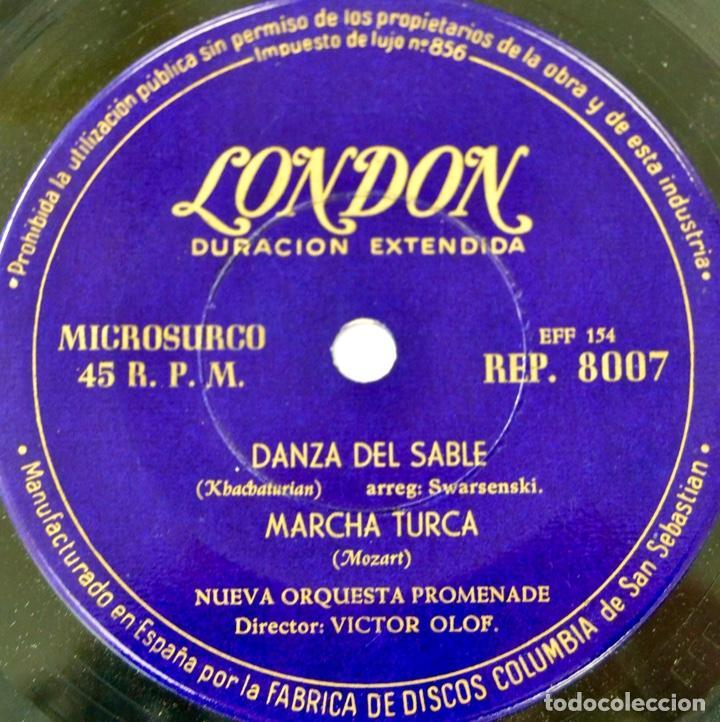 Discos de vinilo: Nueva Orquesta Promenade. Director, Victor Olof. Danza Sable, Marcha Turca y Húngara. Sello London - Foto 5 - 288920858