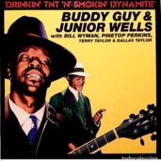 Discos de vinilo: BUDDY GUY & JUNIOR WELLS WITH BILL WYMAN, PINETOP PERKINS, TERRY TAYLOR (3) & DALLAS TAYLOR – DRINK. Lote 288946908