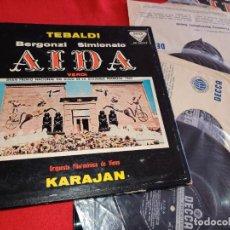 Discos de vinilo: VIENA KARAJAN VERDI AIDA TEBALDI BERGONZI SIMIONATO 3LP 1960 DECCA ESPAÑA SPAIN CAJA BOX + LIBRETO. Lote 288950248