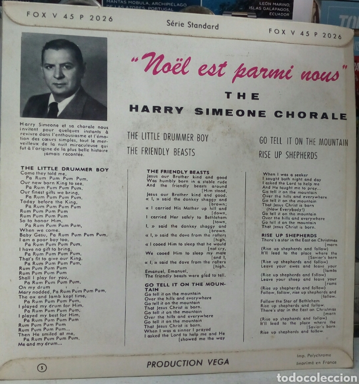 Discos de vinilo: The Harry Simeone Choral. Little Drummer Boy. EP. Edicion francesa - Foto 3 - 288953868