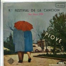 Discos de vinilo: 9º FESTIVAL DE SAN REMO 1959 (VARIOS) DOMENICO MODUGNO / PIOVE + 3 (EP TELEFUNKEN 1959). Lote 288966178