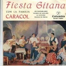 Discos de vinilo: FIESTA GITANA CON LA FAMILIA CARACOL / LOS CAMPANILLEROS + 3 (EP 1960). Lote 288966523