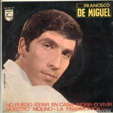 Discos de vinilo: FRANCISCO DE MIGUEL / NO PUEDO ESTAR EN CASA + 3 (EP PHILIPS + 3 1966). Lote 288968413